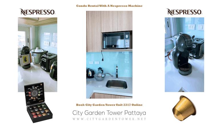 Short Term Condo Rental in Central Pattaya With A Nespresso Machine - City Garden Tower 2317 - Book Online - www.citygardentower.net -