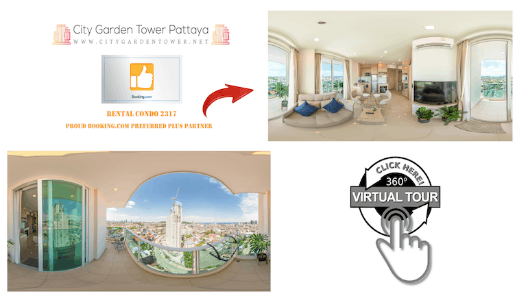 Take a 360 Virtual Tour of City Garden Tower in Pattaya - Rental Condo Unit 2317 - Book Your Stay Online - www.citygardentower.net -
